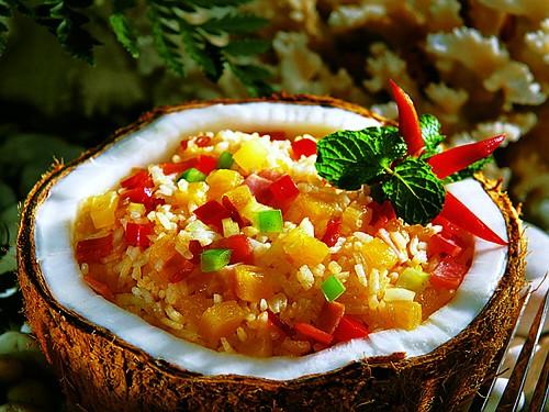 Rijst in kokosnoot